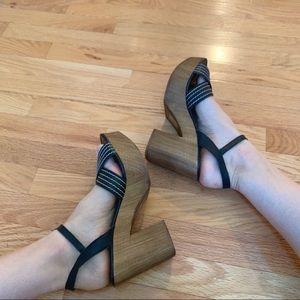 Topshop wooden clog sandals black white Sz 11